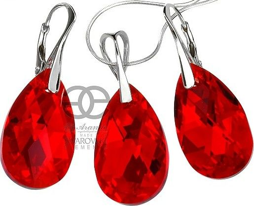 SWAROVSKI piękny czerwony komplet+łańcuszek SREBRO