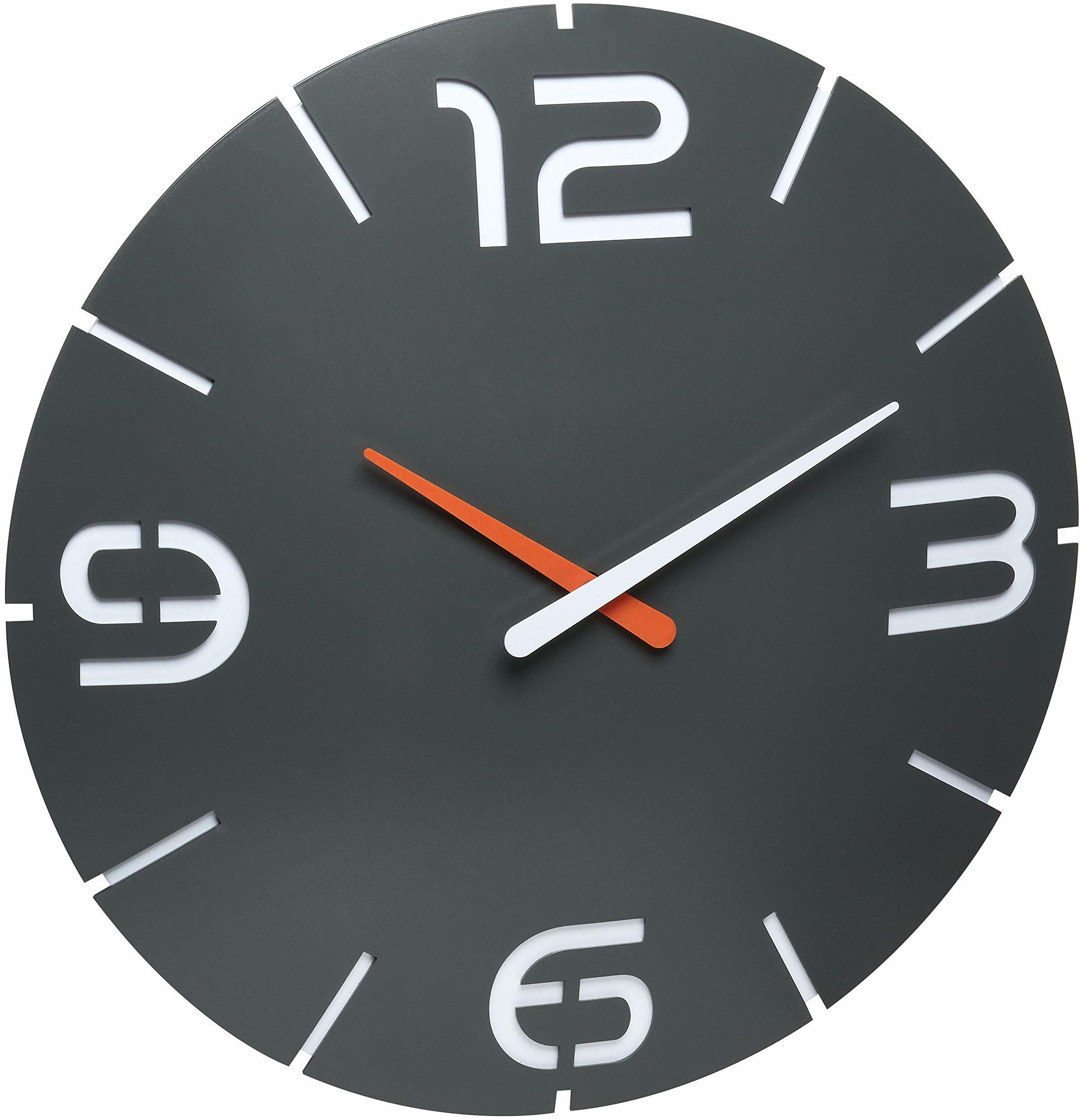 TFA Dostmann Contour Design zegar ścienny sterowany radiowo, duży, kolor antracyt, 60.3536.10
