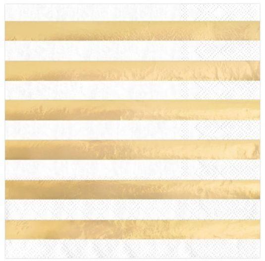 Serwetki białe w złote paski 33x33cm 10 sztuk 511470