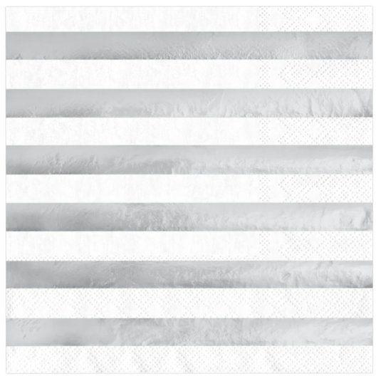 Serwetki białe w srebrne paski 33x33cm 10 sztuk 511471