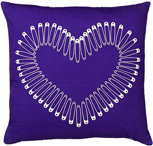Laura Egbi Heart Cushion. Purple