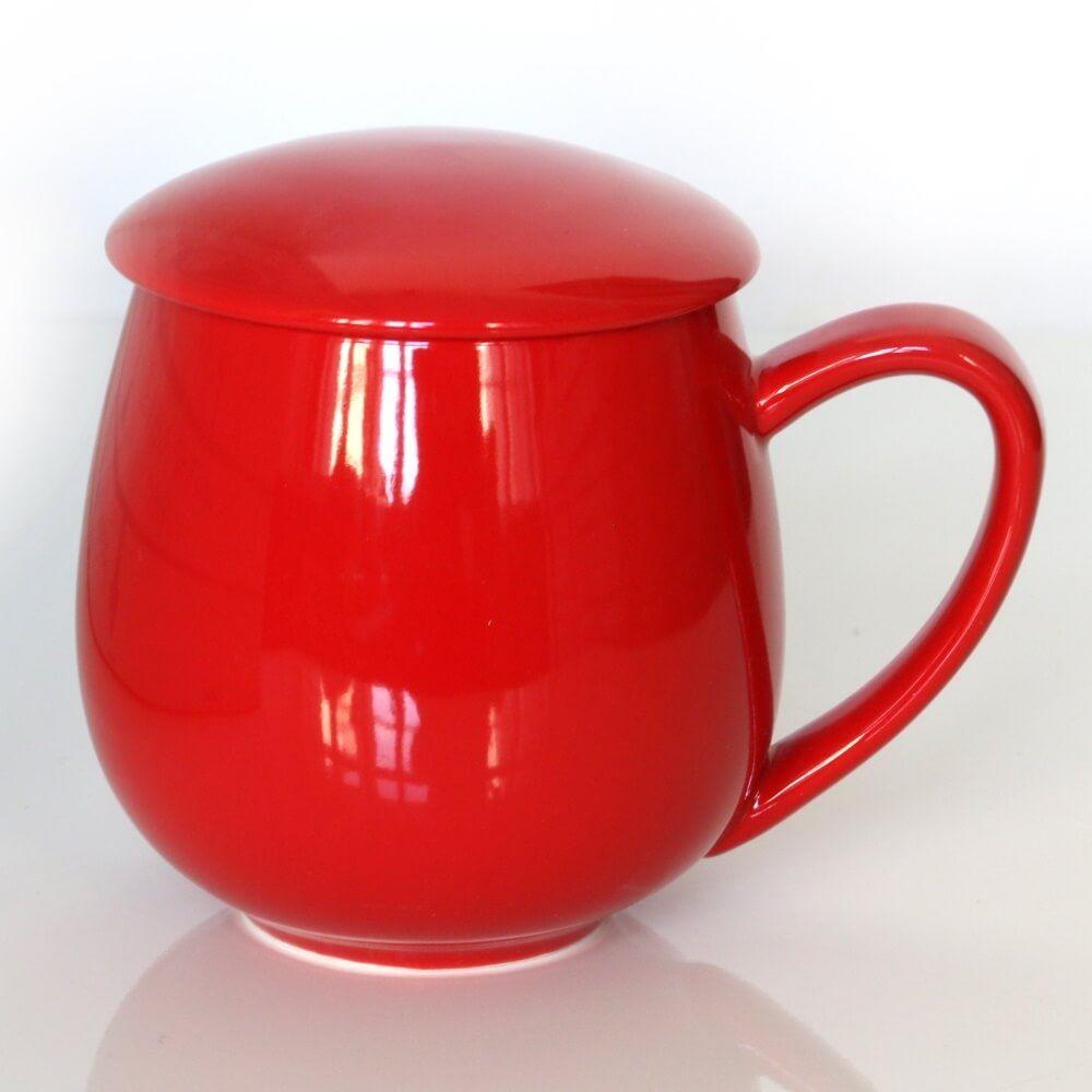 Kubek z zaparzaczem i pokrywką czerwony  idealny zestaw do przygotowania herbaty, perfekcyjny podarunek prezent dla mamy, taty, babci, dziadka