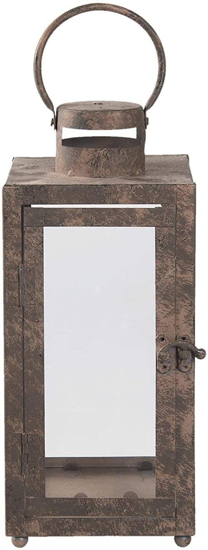 Clayre & Eef 6Y2733S latarnia/lampion format: 13 x 13 x 30 cm, kolor: brązowy, materiał: żelazo i szkło,