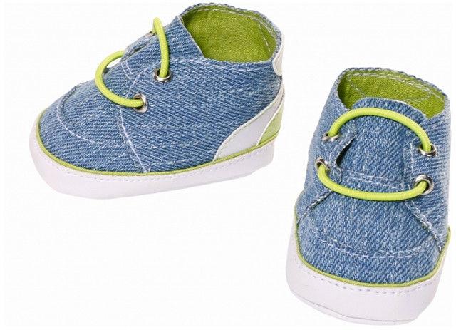 BABY Born - Buciki dla lalki niebieski jeans z zielonymi sznurówkami 824207