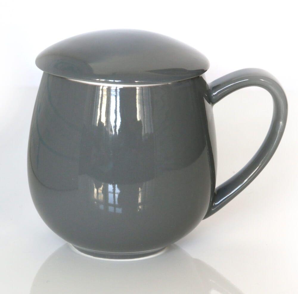 Kubek z zaparzaczem i pokrywką szary  idealny zestaw do przygotowania herbaty, perfekcyjny podarunek prezent dla mamy, taty, babci, dziadka