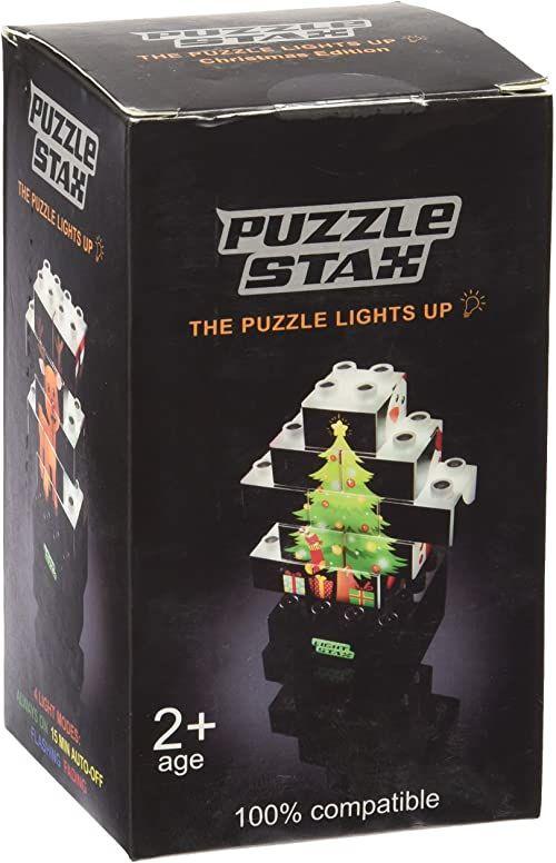 Light STAX Junior Puzzle Christmas wersja 03004, zestaw puzzli, łącznie z 10 drukowanymi klockami Light STAX Junior (2 x 2), bazą USB Power Base (4 x 4), 3 bateriami AAA, kablem USB.