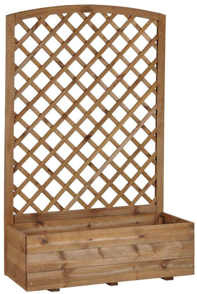 Donica ogrodowa 40 x 90 x 141.6 cm drewniana z kratką brązowa NIVE NATERIAL