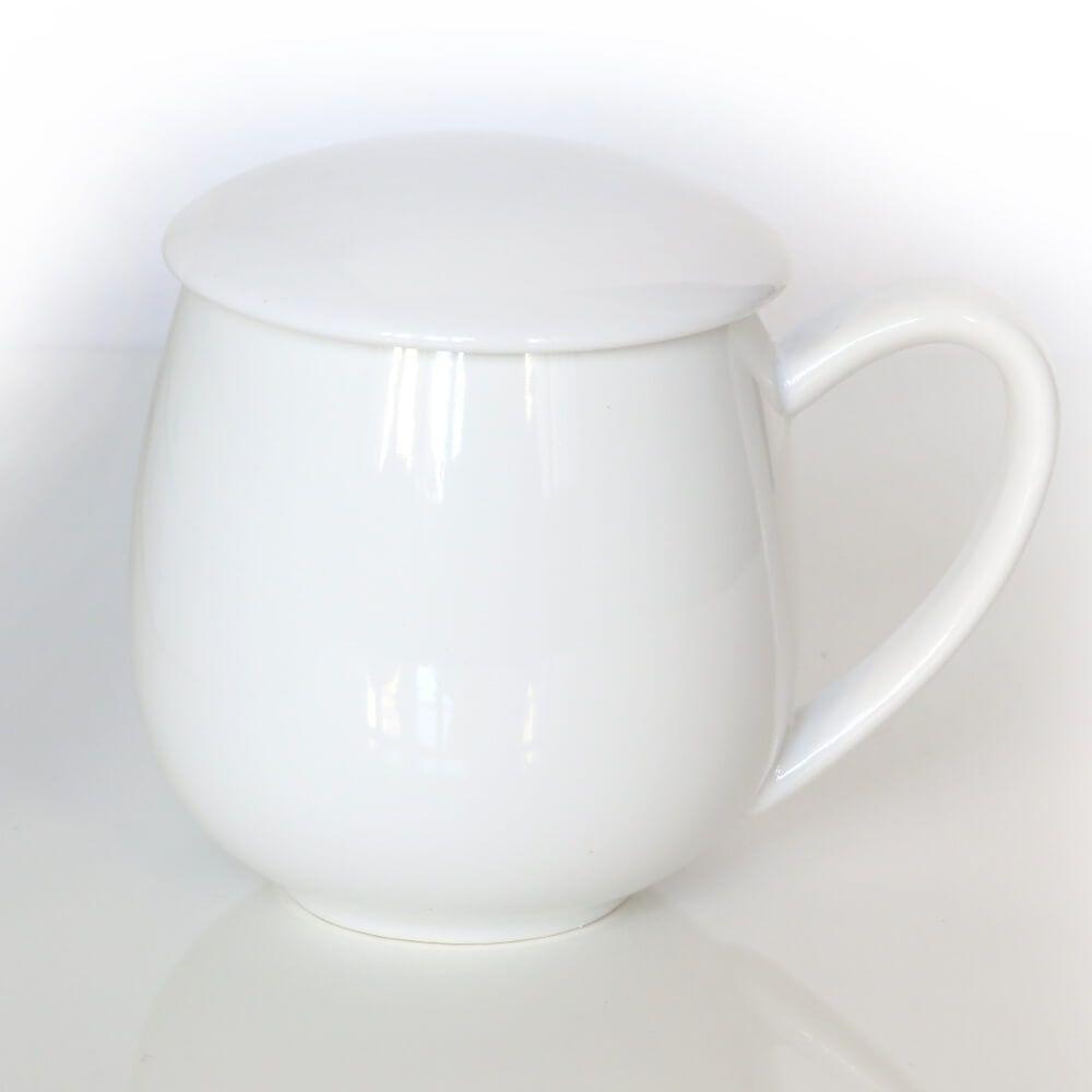 Kubek z zaparzaczem i pokrywką biały  idealny zestaw do przygotowania herbaty, perfekcyjny podarunek prezent dla mamy, taty, babci, dziadka