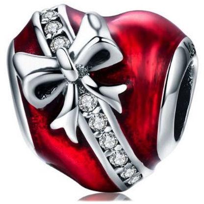 Rodowany srebrny charms pandora serce w prezencie kokarda cyrkonie srebro 925 BEAD078