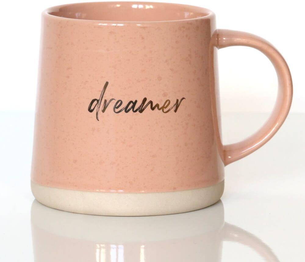 Kubek DREAMER różowy  wyjątkowy prezent podarunek ze złotymi akcentami na kawę herbatę dla siostry mamy koleżanki