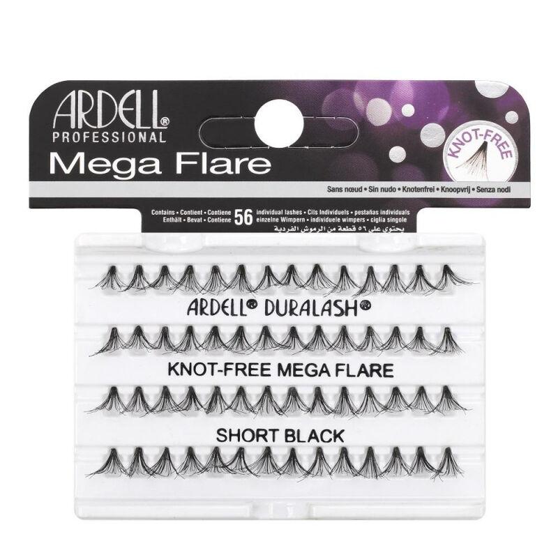 ARDELL - Mega Flare - Pogrubione rzęsy w kępkach - 652799 - KNOT-FREE MEGA FLARE - SHORT BLACK