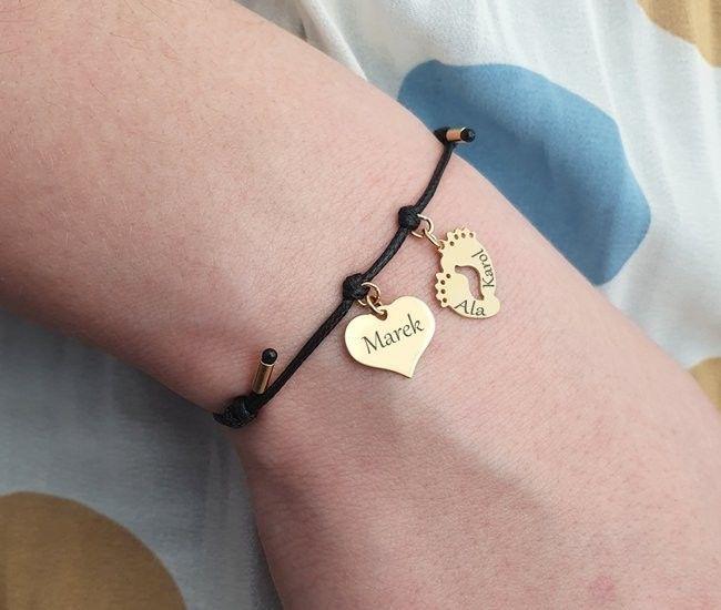 1003 bransoletka personalizowana złota 925 serce stopy na sznureczku