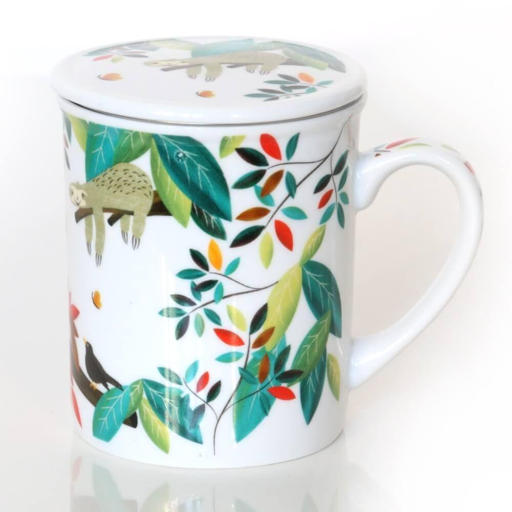 Kubek LENIWIEC z zaparzaczem i pokrywką  uroczy gadżet zestaw do parzenia herbaty prezent podarunek na każdą okazję