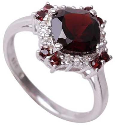 NELL RED ; Srebrny pierścionek, zaręczynowy z granatami i topazami