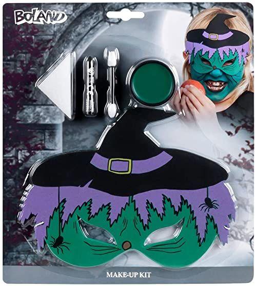 Boland 45079  zestaw do makijażu mała czarownica, 1 maska na oczy z tworzywa EVA, 1 szminka, 1 gąbka, 1 aplikator, makijaż, smok, czarownica, Halloween, karnawał, impreza tematyczna