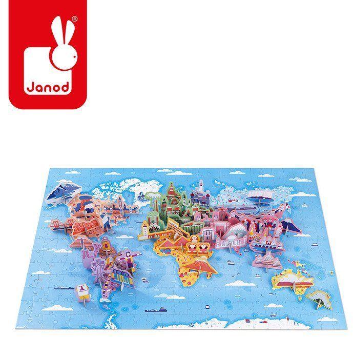 Puzzle edukacyjne z figurkami 3D Cuda świata 350 elementów 7 +, Janod J02677