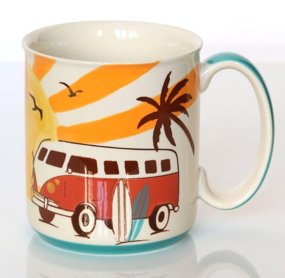 Kubek SUNRISE  ręcznie malowane naczynie na kawę herbatę z letnim motywem, uroczy podarunek prezent dla przyjaciela kolegi