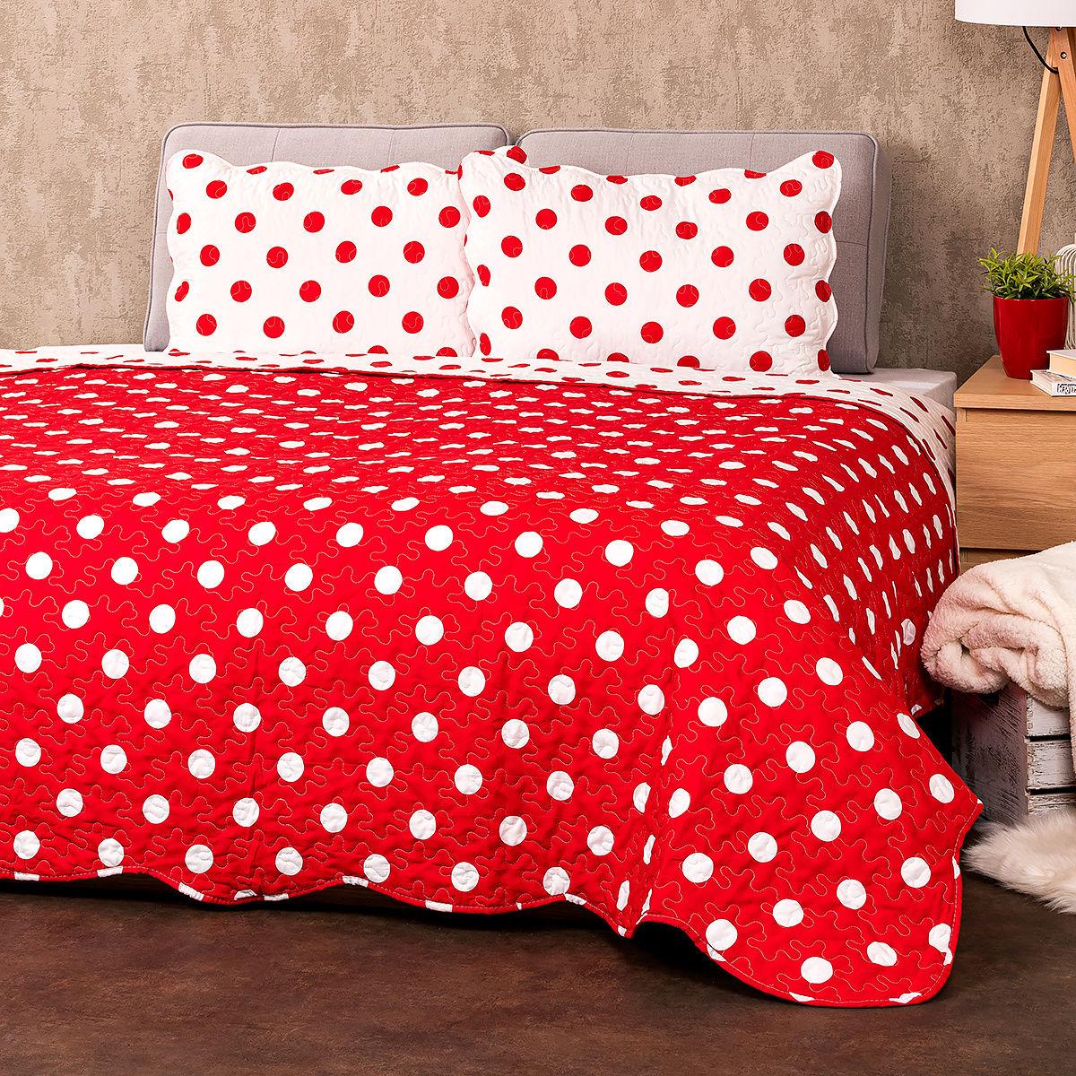 4Home Narzuta na łóżko Czerwona kropka, 220 x 240 cm, 2 szt. 50 x 70 cm