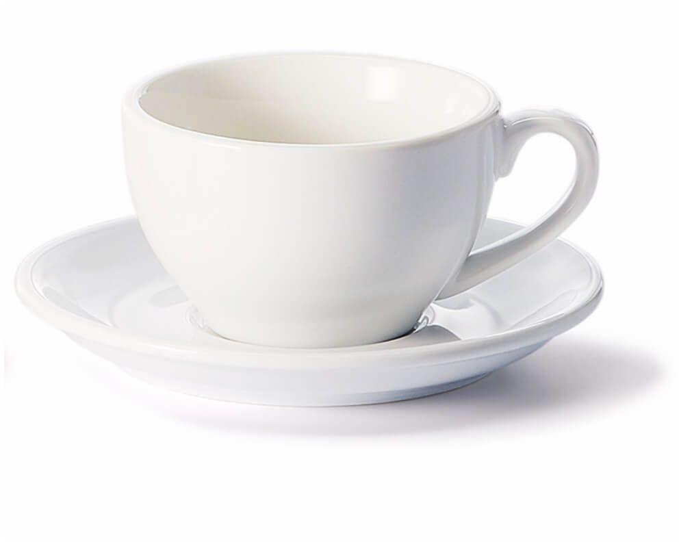 Filiżanka ze spodkiem biała  klasyczny zestaw na kawę herbatę, elegancki prezent podarunek dla mamy taty babci dziadka