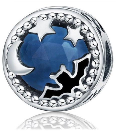 Rodowany srebrny charms do pandora gwieździste niebo batman nietoperz cyrkonie srebro 925 BEAD109BAT