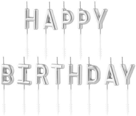 Świeczki urodzinowe HAPPY BIRTHDAY srebrne 7cm 420308