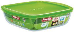 Pyrex miska z pokrywką, kwadratowa, 20 x 17 x 5,5 cm, szkło plastikowe, zielona, 2,2 l