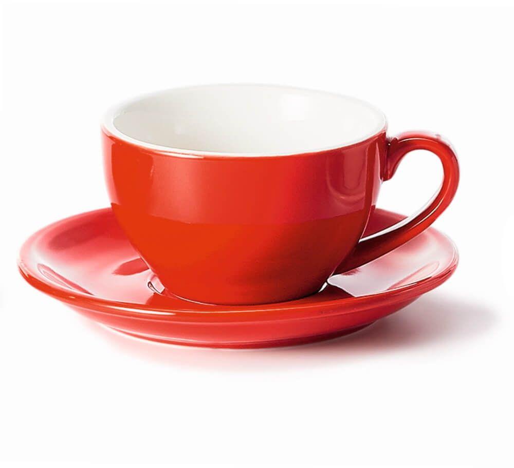 Filiżanka ze spodkiem czerwona  klasyczny zestaw na kawę herbatę, elegancki prezent podarunek dla mamy taty babci dziadka