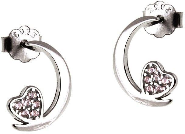Delikatne rodowane srebrne kolczyki celebrytka księżyc serce cyrkonie srebro 925 K1593