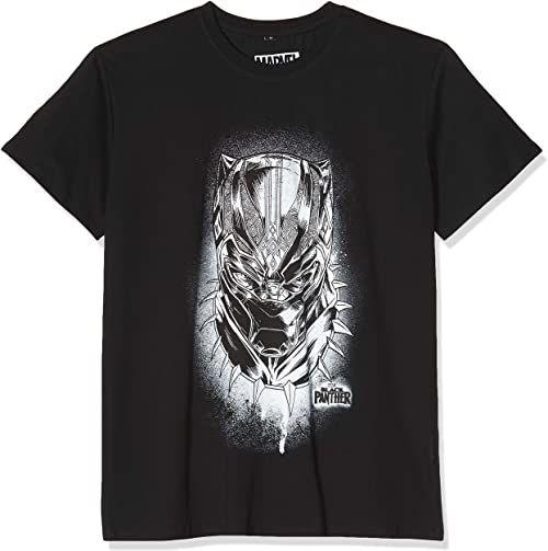Black Panther męski T-shirt Spray Headshot Tee z nadrukiem Konterfei superbohatera czarny czarny L