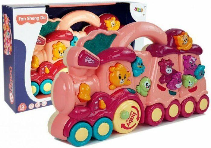 Interaktywna Zabawka dla dzieci Lokomotywa Odgłosy Zwierząt Dźwięk Czerwona