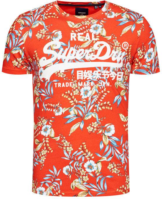 Superdry T-Shirt Vl Aop M1010999A Czerwony Regular Fit