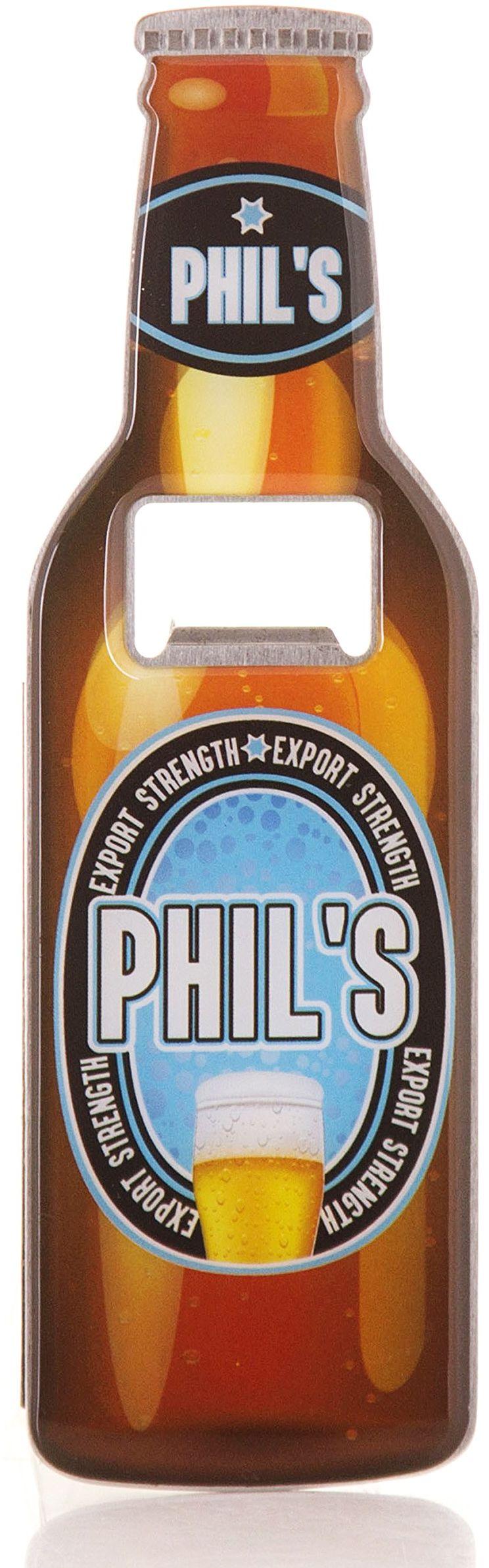 Boxer Gifts Phil otwieracz do butelek piwa, stal nierdzewna, wielokolorowy, 18,5 x 5,8 x 0,4 cm