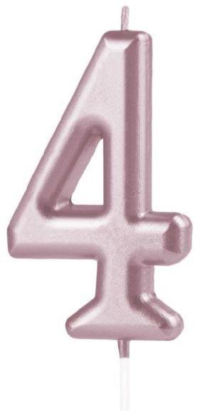 Świeczka cyferka 4 różowe złoto 10cm 420255