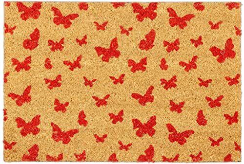 Relaxdays Wycieraczka kokosowa, 40 x 60 cm, mata kokosowa, motyw motyla, antypoślizgowa, do butów wewnątrz i na zewnątrz, naturalna/czerwona