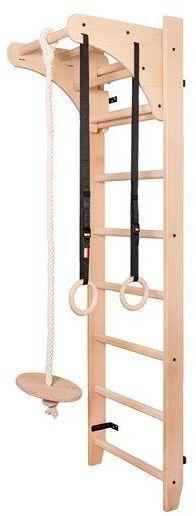 Drabinka gimnastyczna drewniana z drążkiem i akcesoriami 112 BenchK 220 x 67 cm - BenchK-112