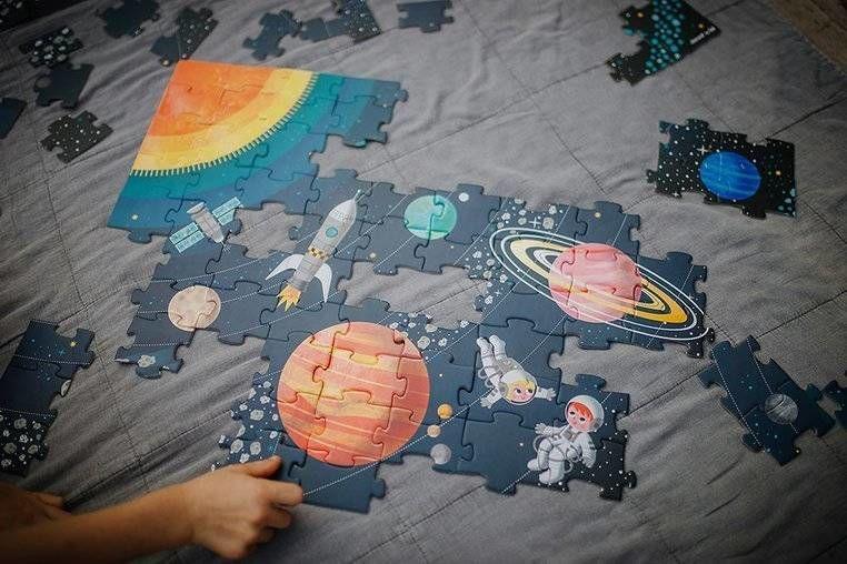 Puzzle edukacyjne Układ słoneczny 100 elementów 5+, Janod J02678