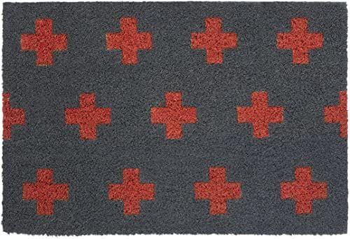Premier Housewares Wycieraczka krzyżowa, szara/czerwona, kokosowa, PCW, 40 x 60 x 2 cm