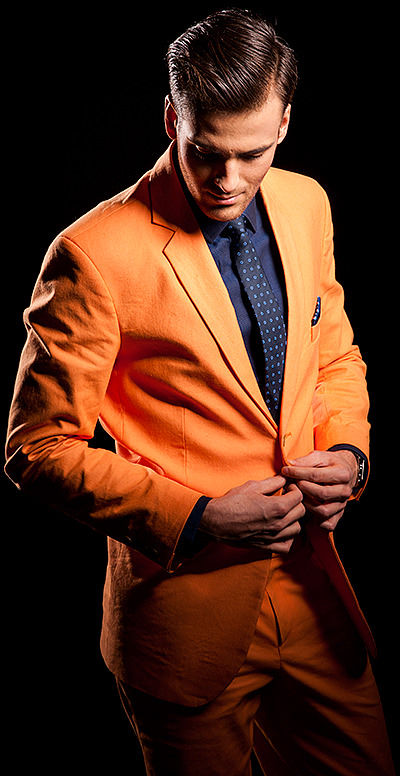 Pomarańczowy garnitur męski Orange
