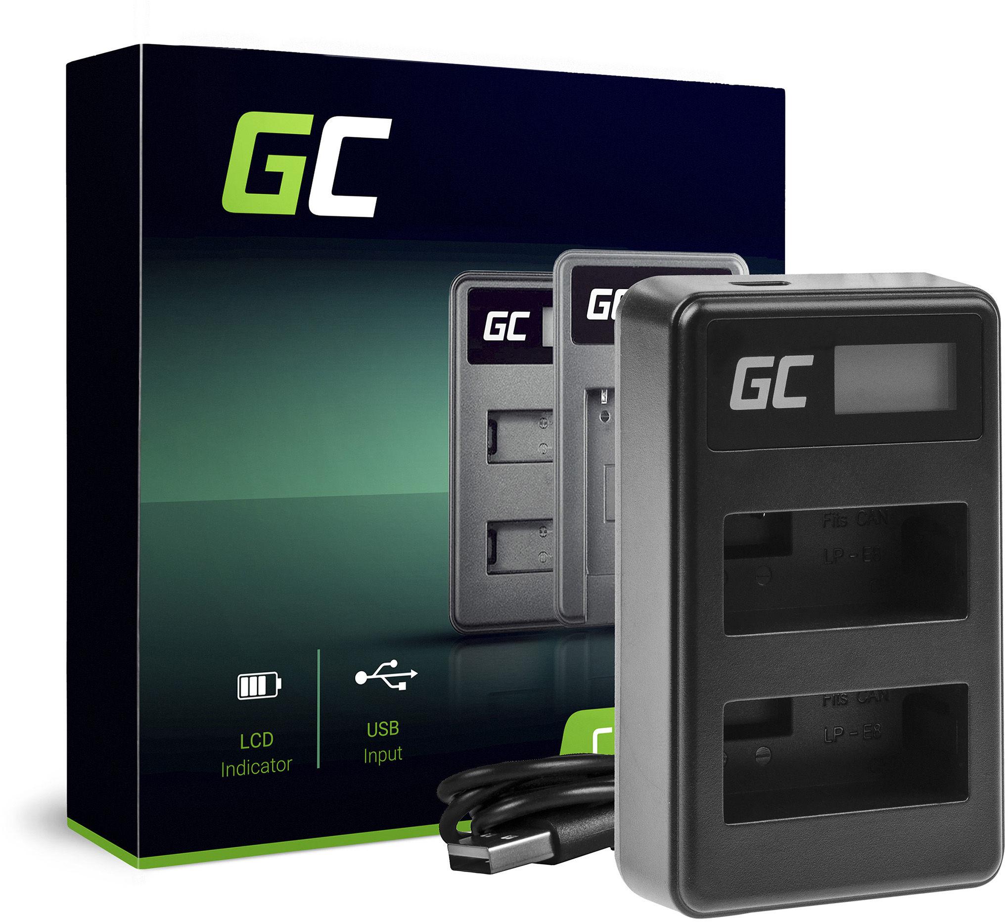 Podwójna ładowarka LC-E8 Green Cell  do Canon LP-E8 EOS Rebel T2i T3i T4i T5i EOS 600D 700D Kiss X4 X5 X6 (5W 8.4V 0.6A)