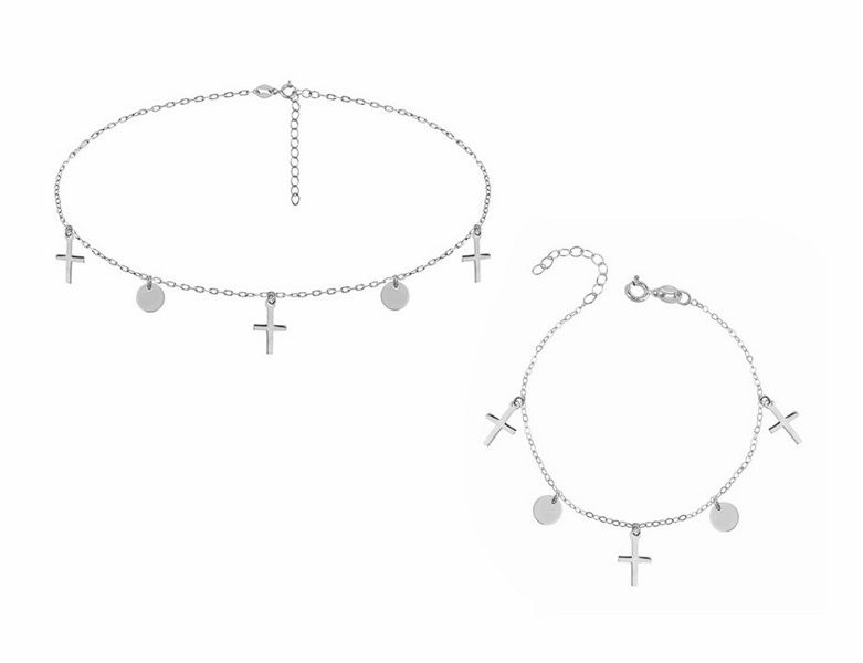 Delikatny rodowany srebrny komplet celebrytka choker kółko circle krzyżyk cross srebro 925 R0118Z