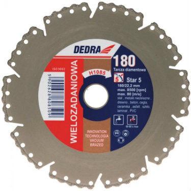 Tarcza diamentowa VACUUM BRAZED do cięcia stali, metali nieżelaznych, drewna, betonu, cegły, ceramiki, asfaltu, szkła, laminatu, PVC 125/22,2mm DEDRA H1083