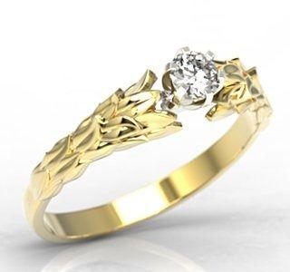 """Pierścionek """"wieniec laurowy"""" z żółtego i białego złota z cyrkonią lp-91zb-c"""