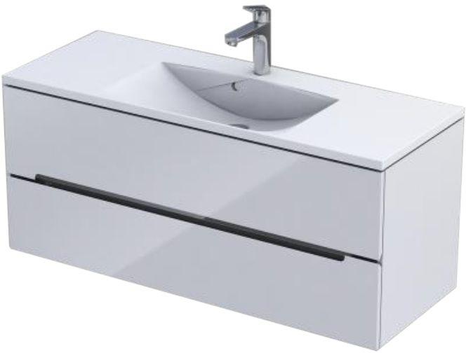 Oristo Silver Uni szafka z umywalką 120x50x46cm biały połysk OR33-SD2S-120-1-V3/UME-AM-120-92-C