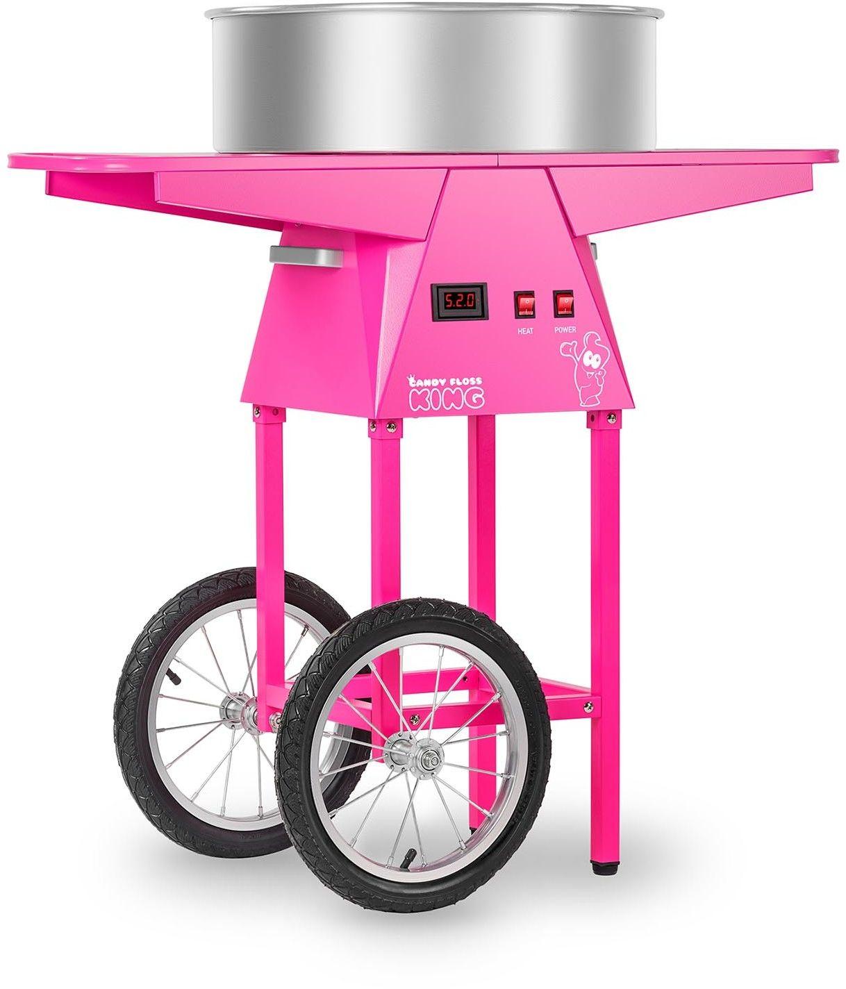 Zestaw Maszyna do waty cukrowej - Wózek - 52 cm + Świecące pałeczki LED - 100 szt. - Royal Catering - RCZC-1030-W SET1 - 3 lata gwarancji/wysyłka w