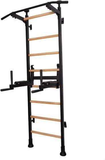 Drabinka gimnastyczna drewniana z metalowymi profilami 512 BenchK 230 x 67 cm z poręczą treningową - BenchK-512