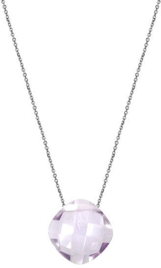 Srebrny naszyjnik 925 poduszka kamień ametyst lila