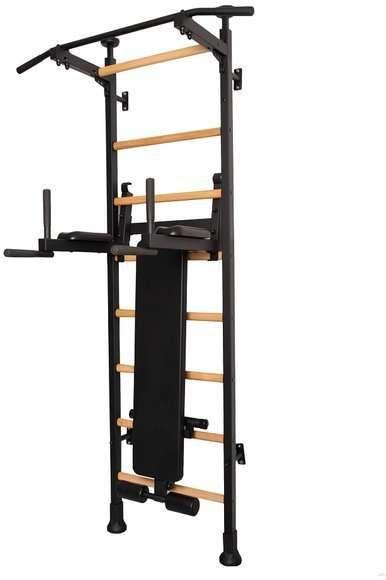 Drabinka gimnastyczna drewniana z metalowymi profilami 513 BenchK 230 x 67 cm z poręczą treningową i ławką - BenchK-513