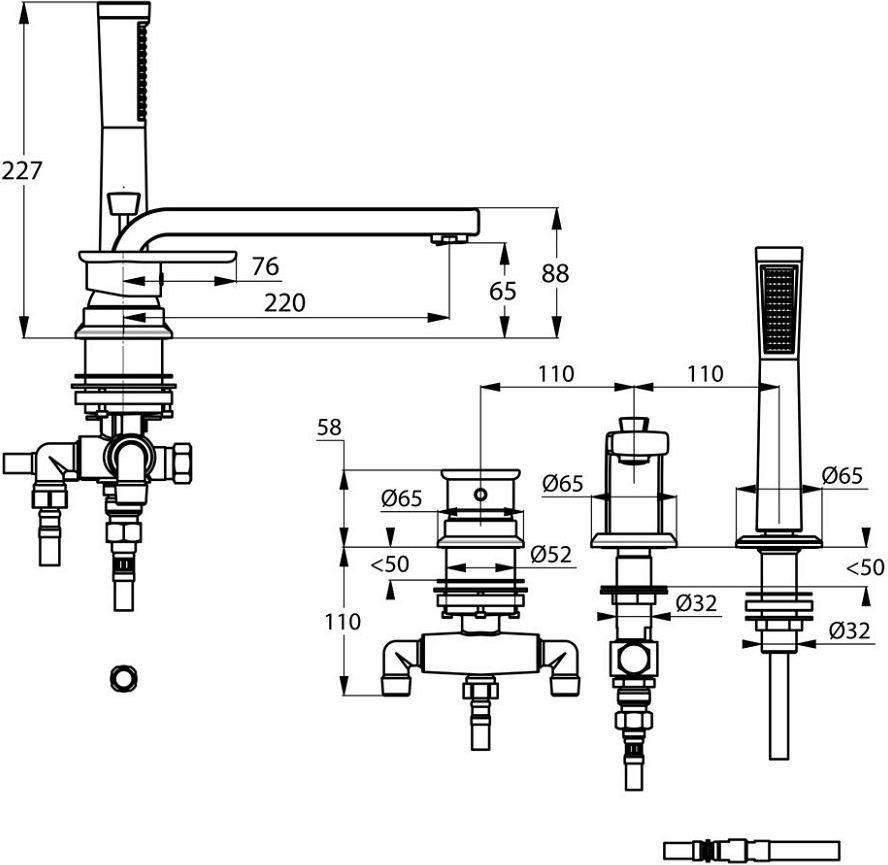 E2 Kludi Jednouchwytowa bateria wannowo-natryskowa trójotworowa wylewka 220 mm