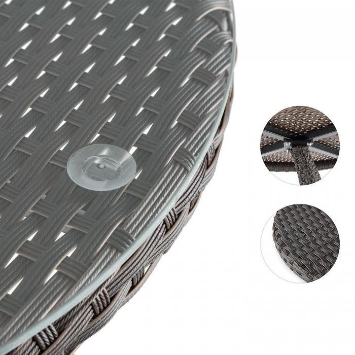 Blumfeldt Tabula stolik 50cm szkło technorattan aluminium bicolor brązowy