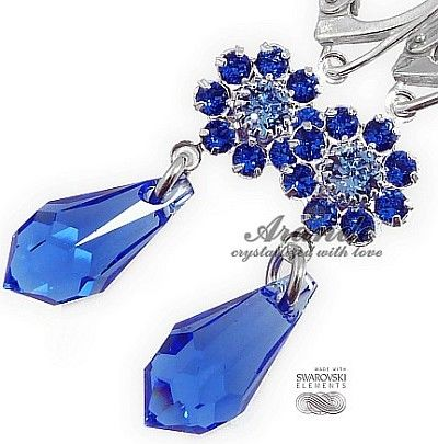 New Swarovski Piękne Kolczyki Sapphire Feel Srebro